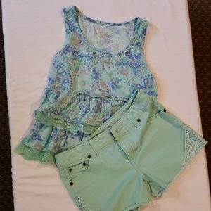Justice denim shorts and Justice top